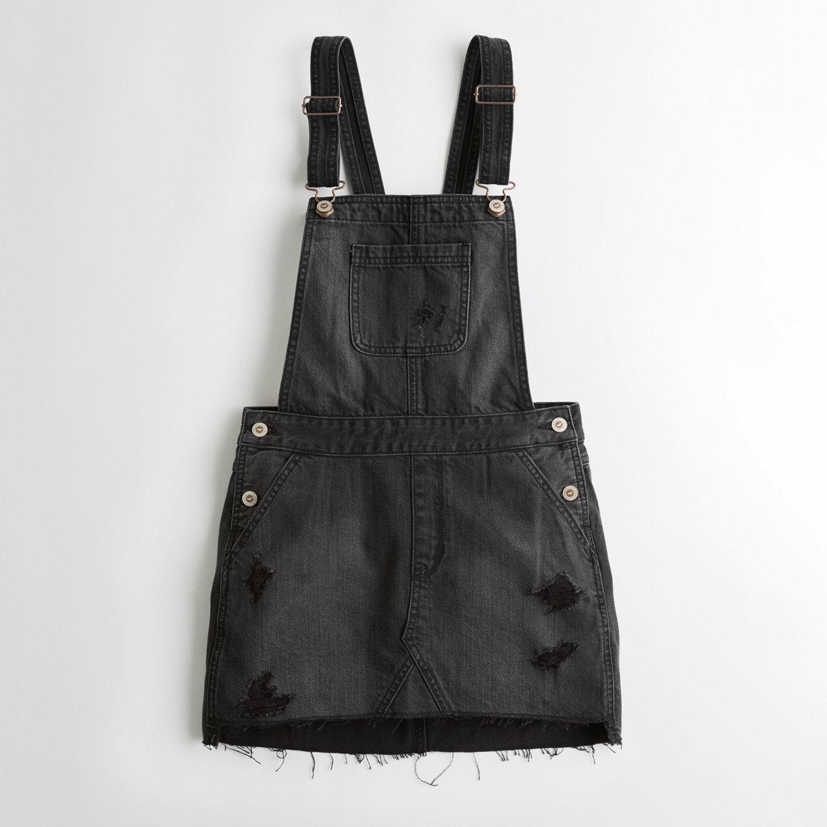 Embroidered Denim Skirt Overalls