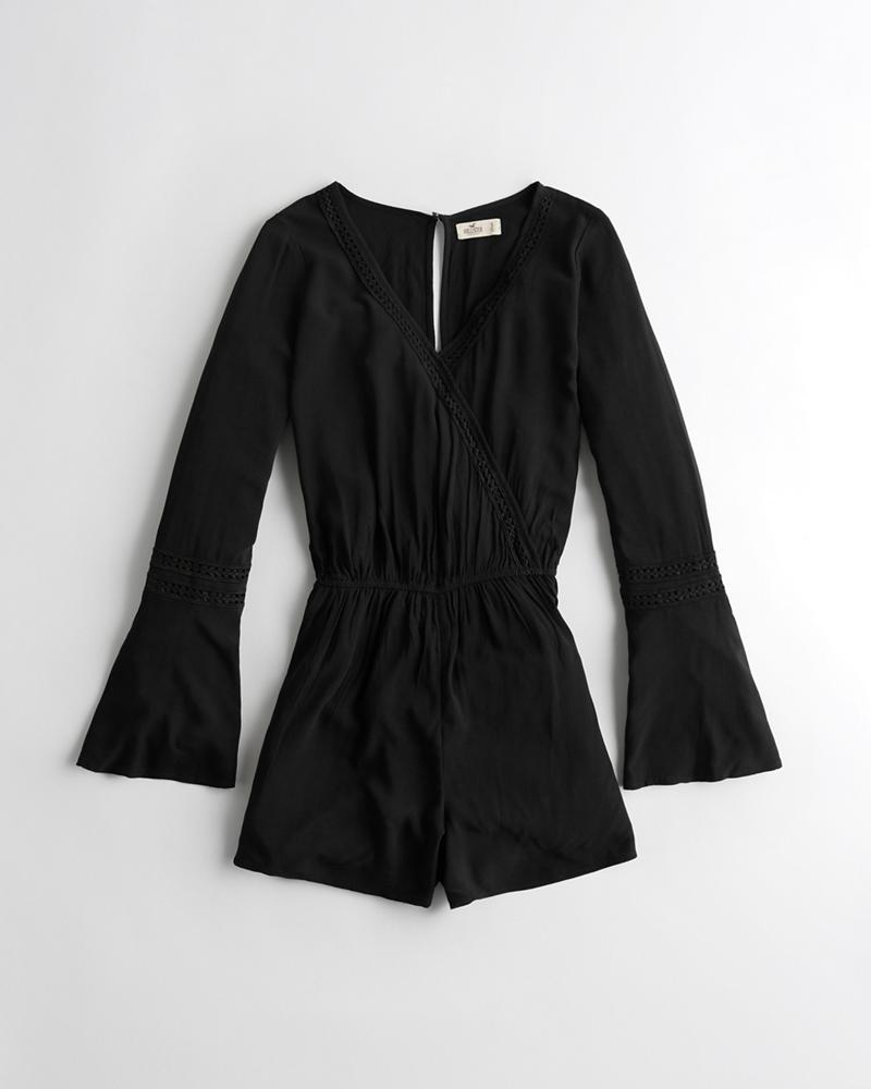 bf7306f62529 Girls Bell-Sleeve Wrap Romper