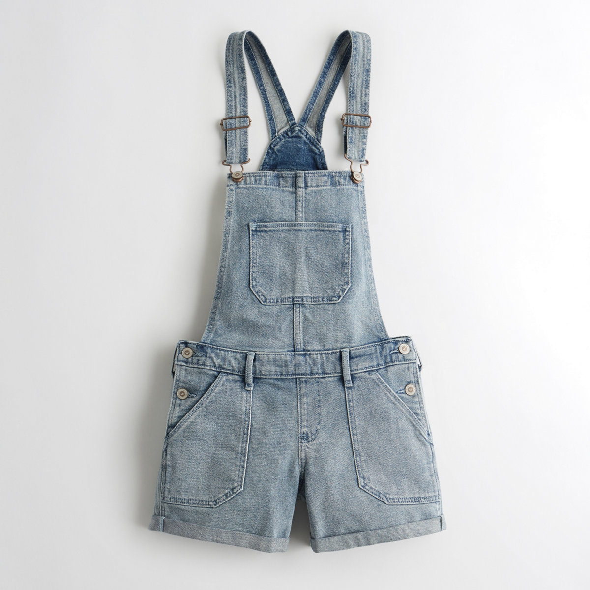Stretch High-Rise Denim Vintage Short Overalls