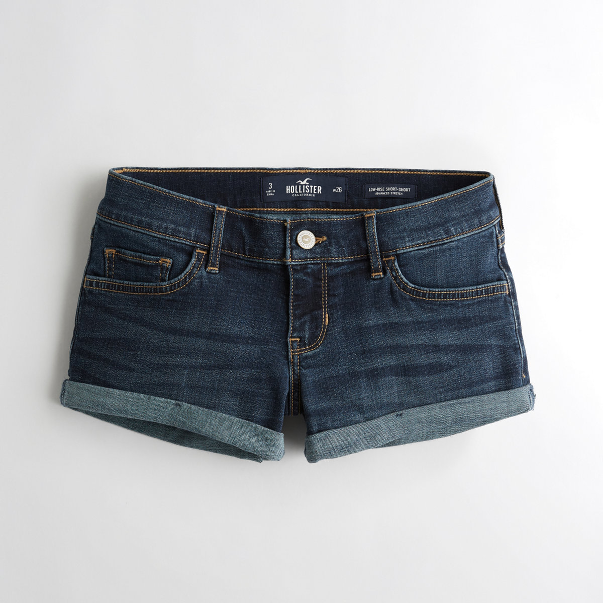 Advanced Stretch Low-Rise Denim Short-Shorts