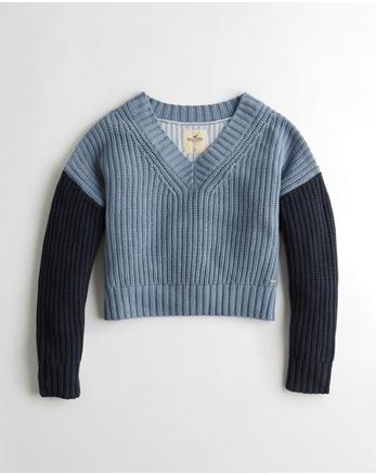 hol Colorblock V-Neck Crop Sweater