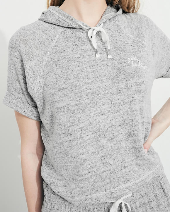 Chicas Camiseta corta con capucha y mangas cortas  6667437f39fd6
