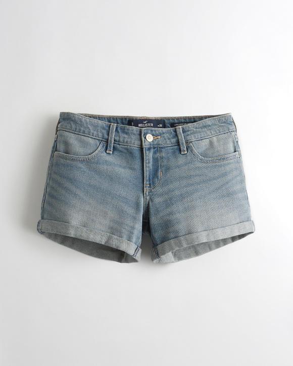 hol Vintage Stretch Low-Rise Denim Midi Shorts