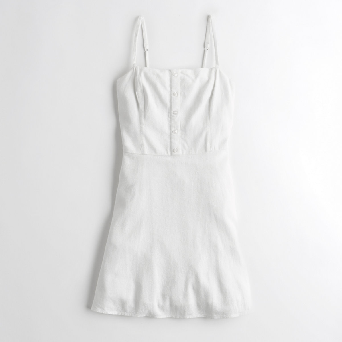Button-Front Linen A-Line Dress