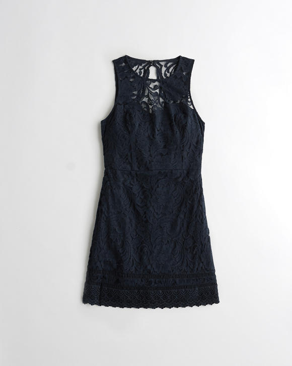 High-Neck Lace Dress | Tuggl