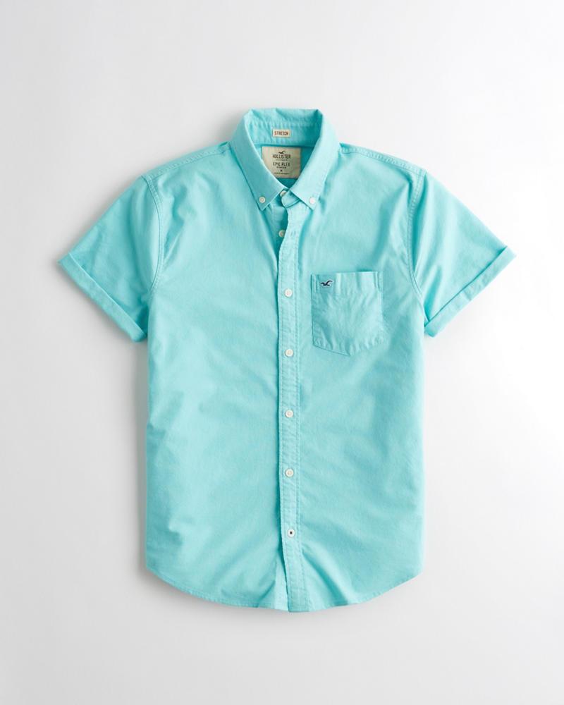 98241b01 Guys Short-Sleeve Stretch Oxford Shirt | Guys Tops | HollisterCo.com