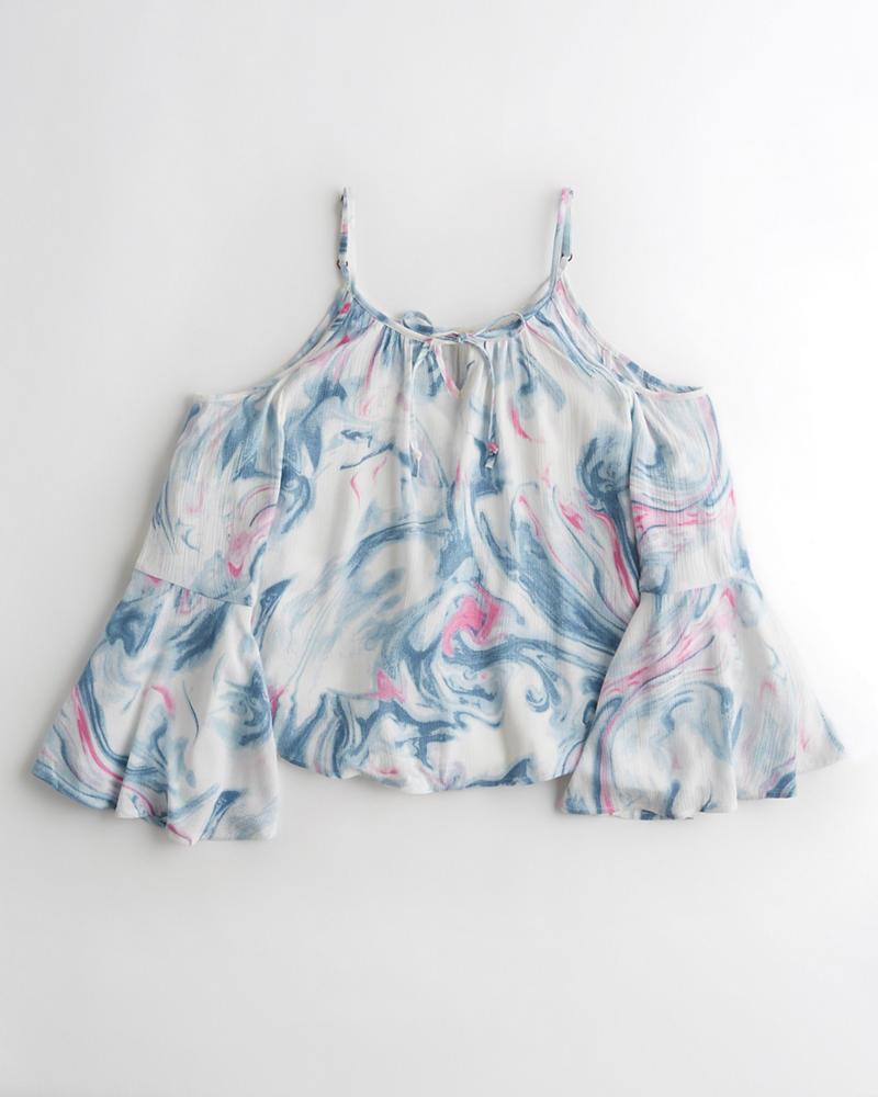 c6d7fe50209ca Girls Bell-Sleeve Cold Shoulder Top