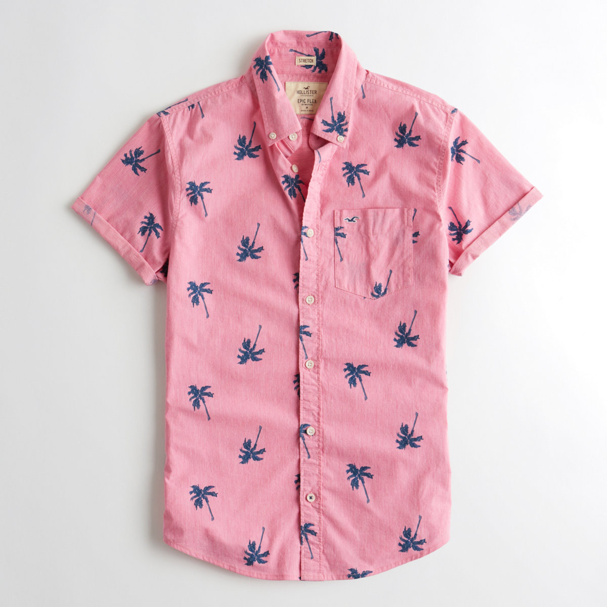 Short-Sleeve Stretch Patterned Poplin Shirt