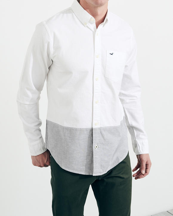 Stretch Colorblock Poplin Shirt by Hollister