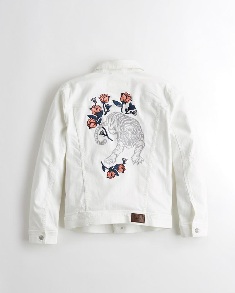 cc2a150a Embroidered Stretch Denim Jacket | Hollisterco.sg