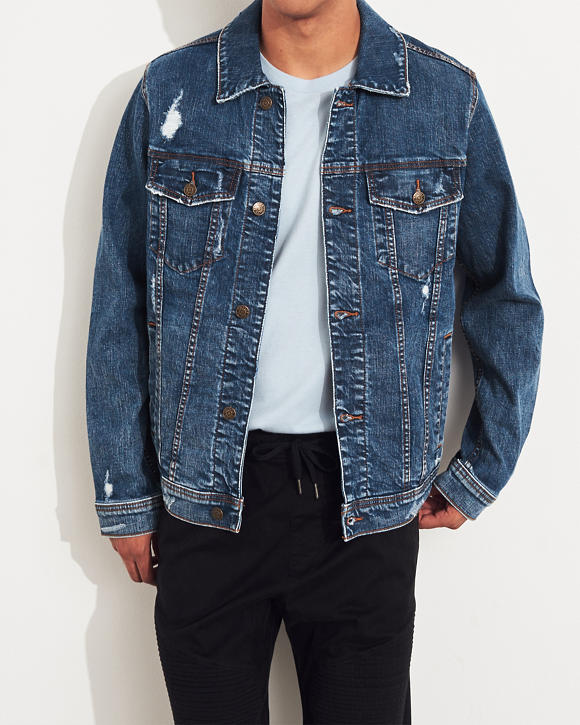 Ripped Stretch Denim Jacket by Hollister