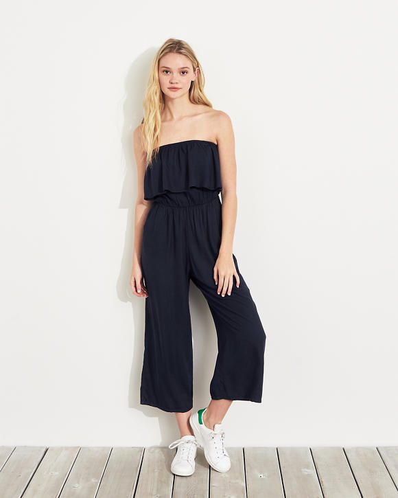 Strapless Crop Wide Leg Jumpsuit by Hollister
