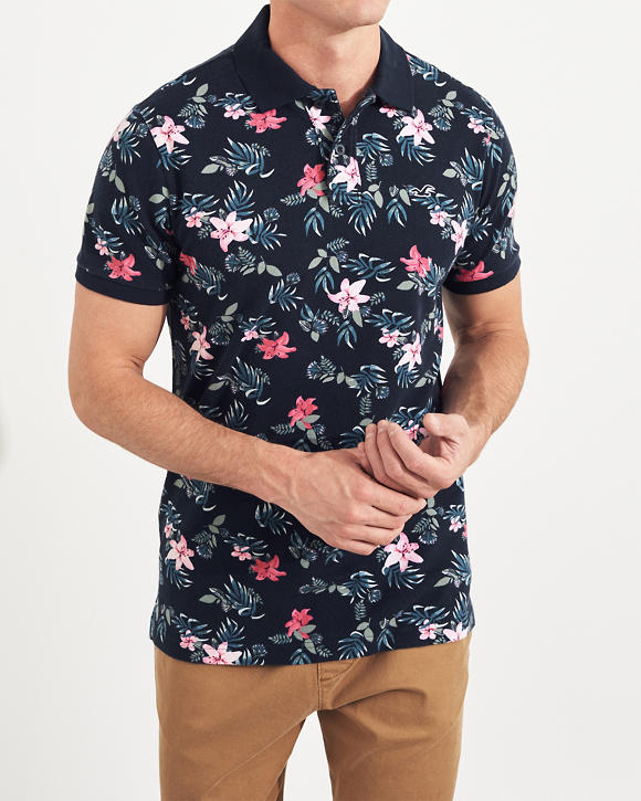 Floral Knit Polo by Hollister