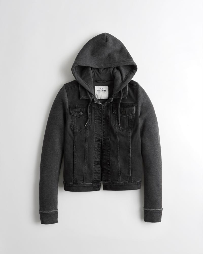 6f255ecfacdb Girls Stretch Hooded Denim Jacket