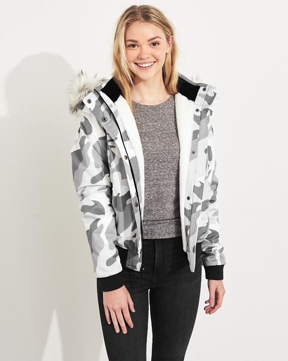 Cozy Lined Hooded Bomber Jacket by Hollister