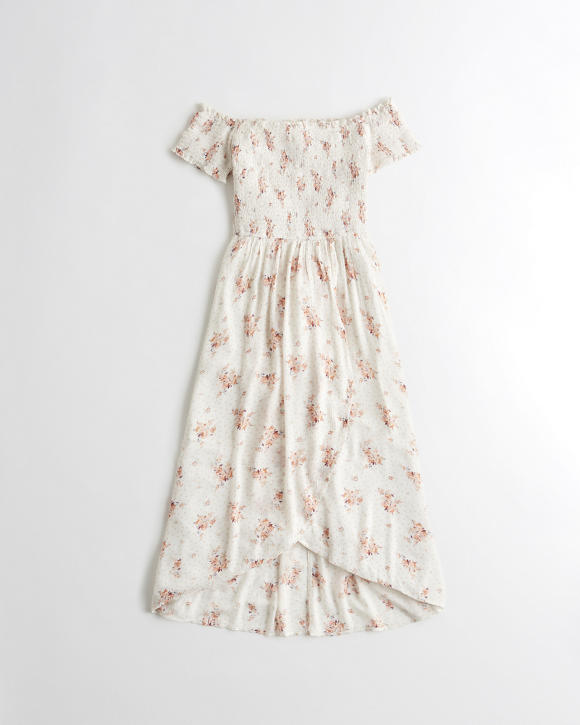 Smocked High Low Wrap Midi Dress by Hollister
