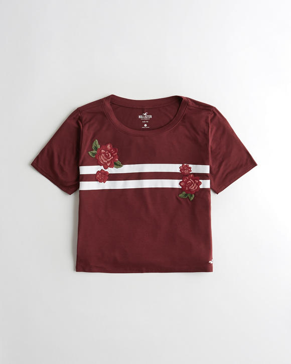 Embroidered Crop T Shirt by Hollister