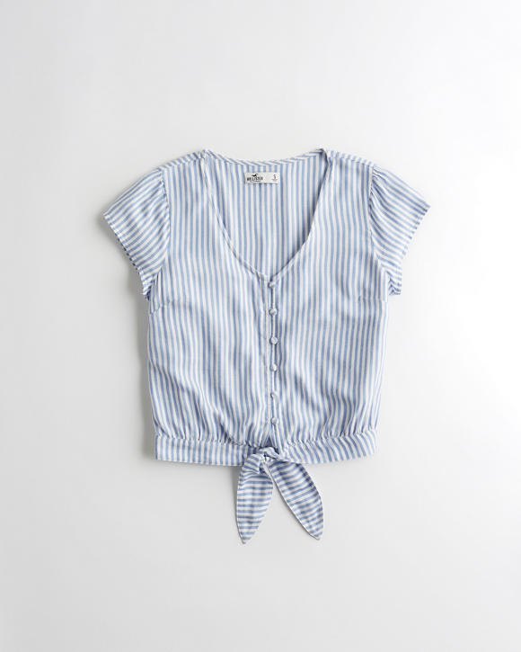 Tie Front Crop Shirt by Hollister