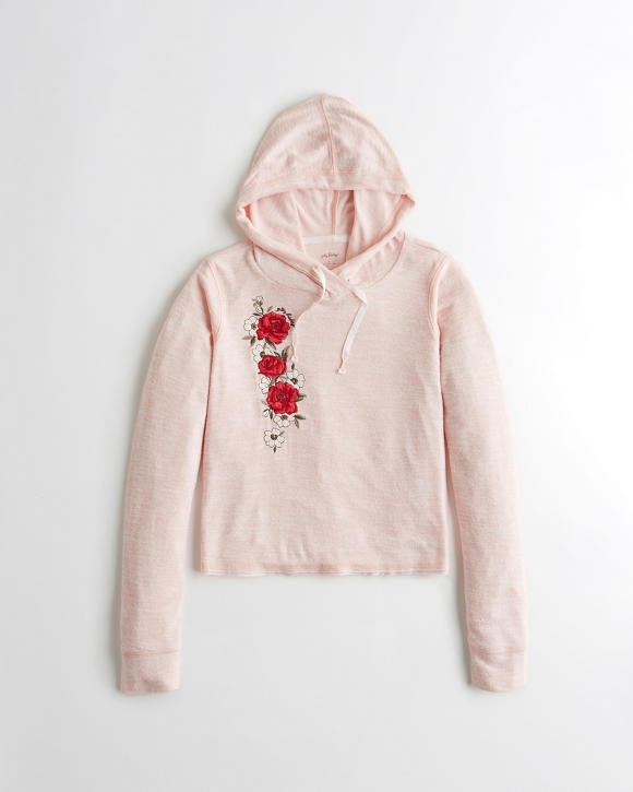Embroidered Crop Hoodie | Tuggl