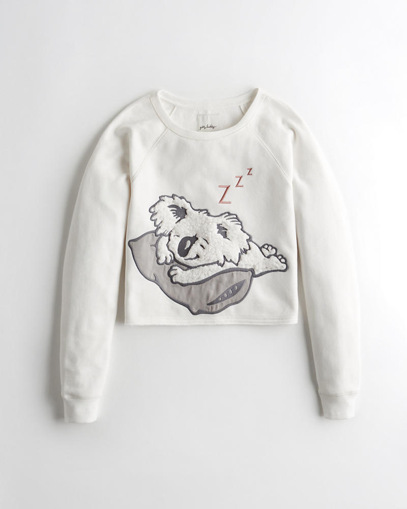 d6e7c084 Graphic Crop Crewneck Sweatshirt | Hollisterco.hk