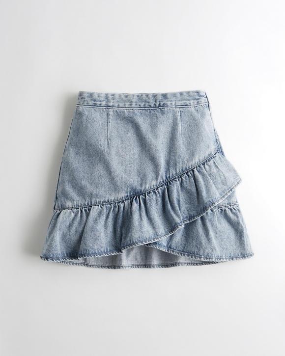 Girls Ultra High Rise Ruffle Denim Skirt Girls Clearance