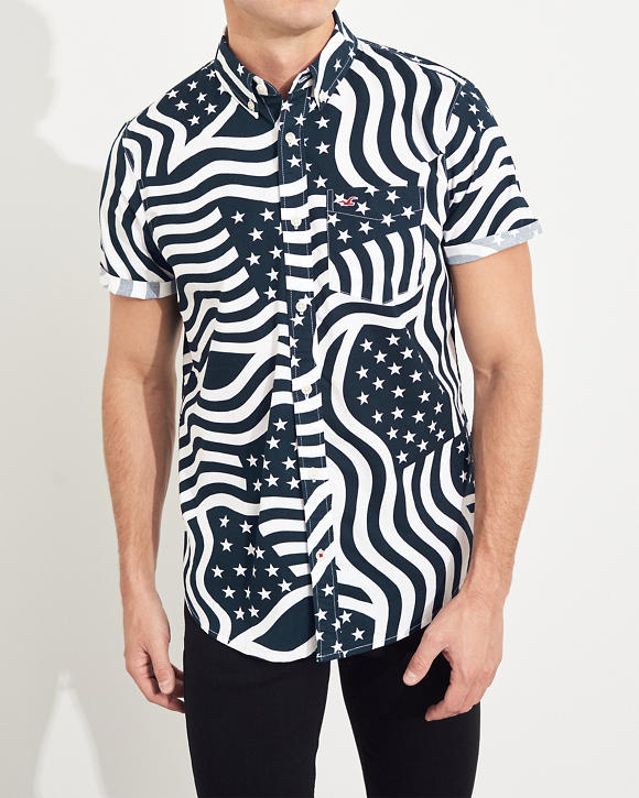 Americana Short Sleeve Stretch Poplin Shirt by Hollister