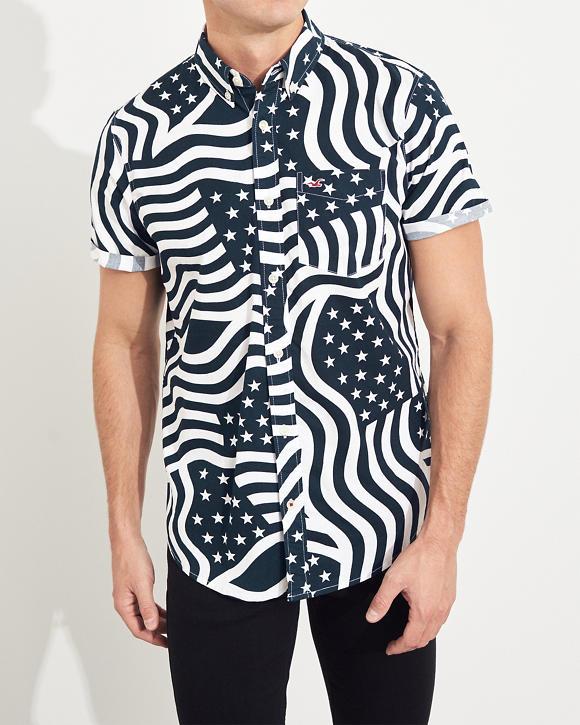 Americana Short Sleeve Stretch Poplin Shirt by Hollister