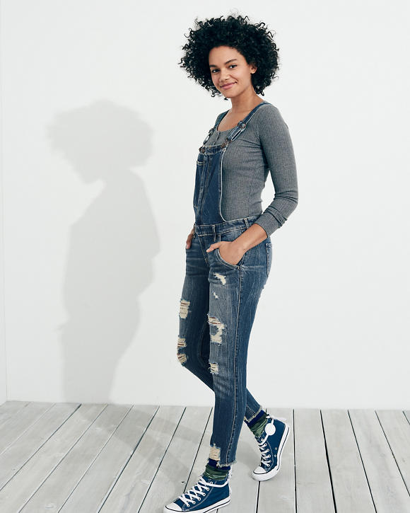 Stretch Low Rise Crop Super Skinny Overalls by Hollister