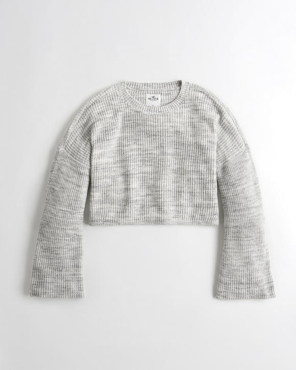 Wide Sleeve Crop Boyfriend Sweater by Hollister
