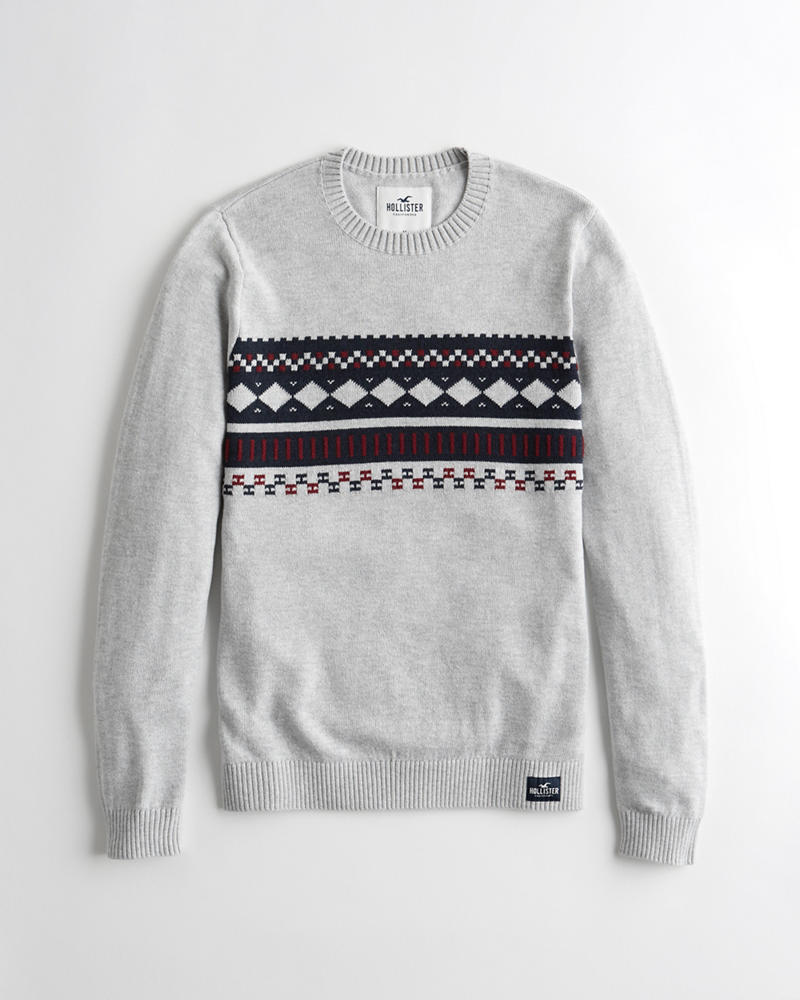 Guys Patterned Crewneck Sweater   Guys Tops   HollisterCo.com