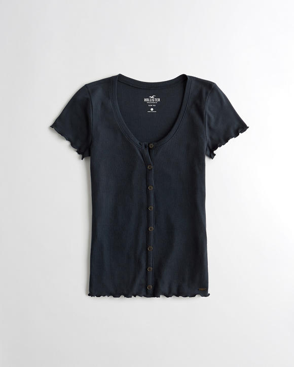 Slim Henley T Shirt by Hollister