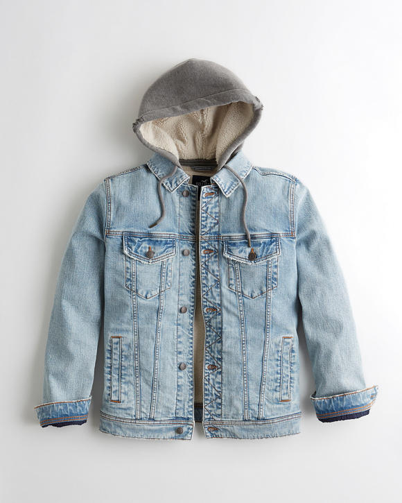 Sherpa-Lined Hooded Denim Jacket | Tuggl