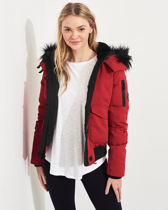 Down Hooded Bomber Jacket by Hollister