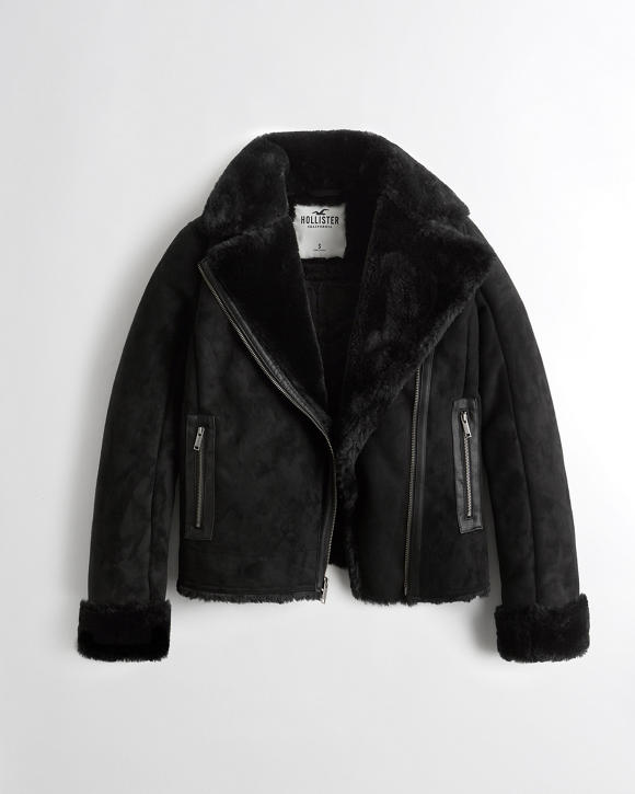 Faux Shearling Biker Jacket by Hollister