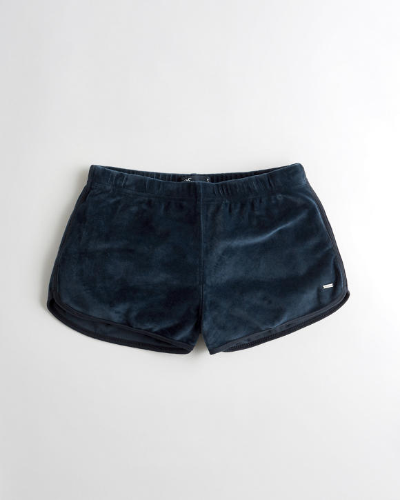 High-Rise Velvet Curved Hem Shorts | Tuggl