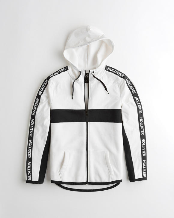 Logo Tape Colorblock Full Zip Hoodie by Hollister