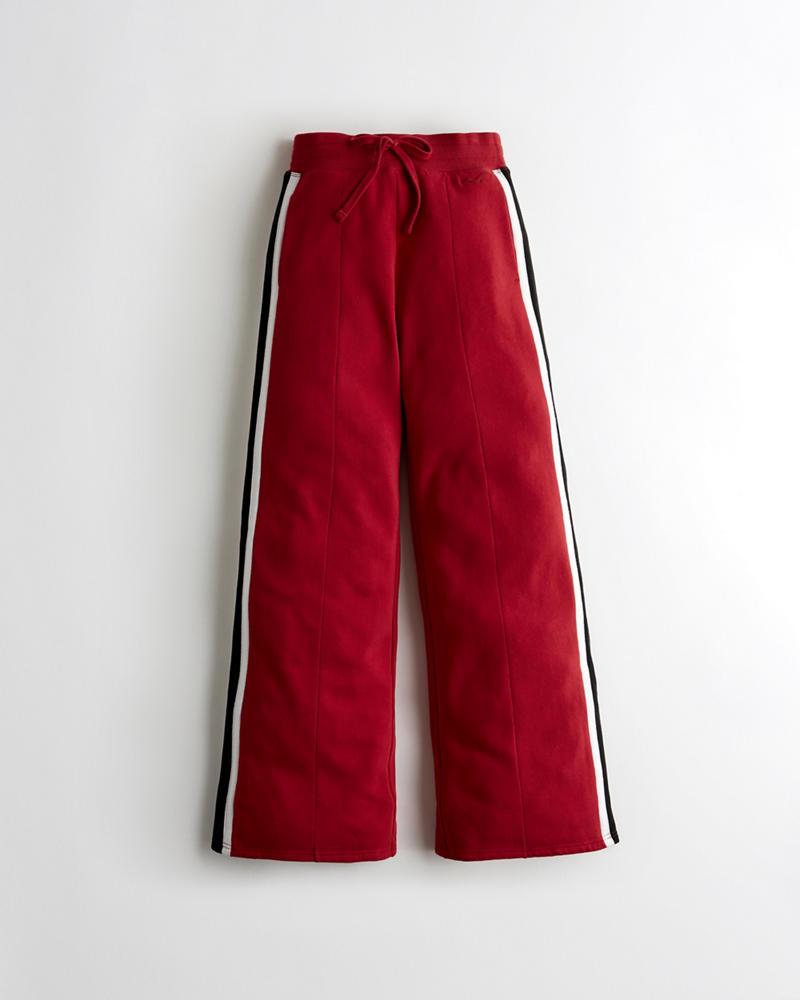 f2f0b52df252 Girls Ultra High-Rise Wide-Leg Fleece Track Pants