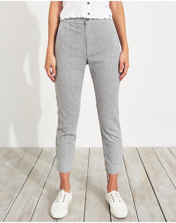 810148524cb59 Pantalon stretch court fuselé, RAYE GRIS