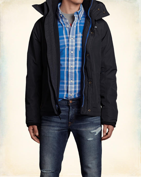 Hollister Wetterfeste Jacke Marineblau