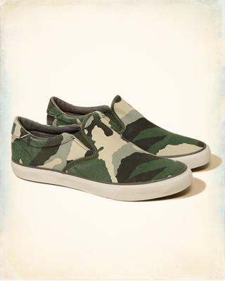 Hollister Camo Print Slip On Sneakers