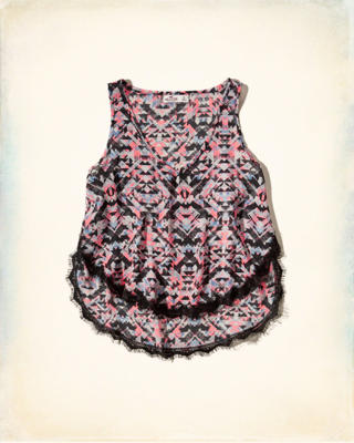 Patterned V Neck Tank