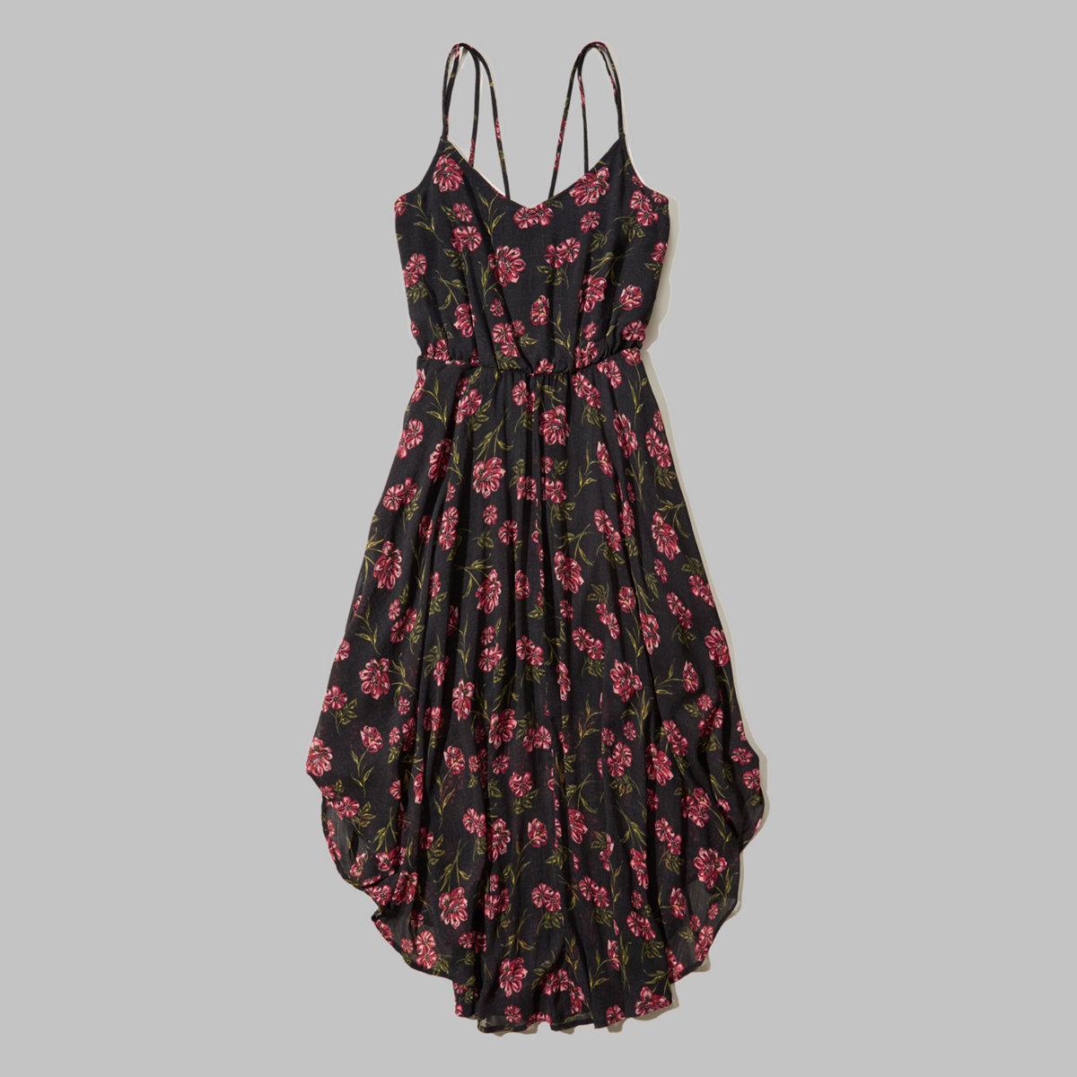Patterned Chiffon Midi Dress
