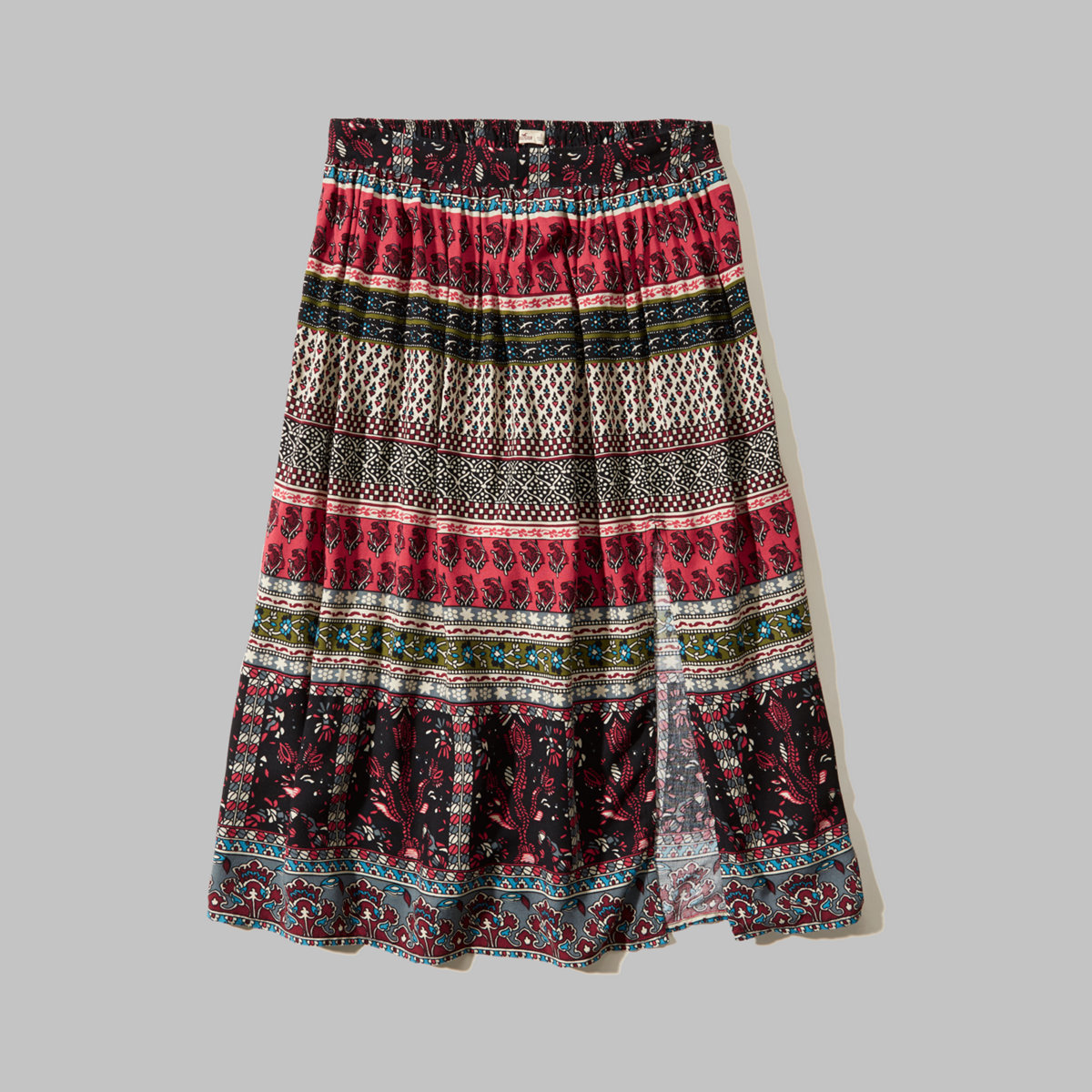 Pattern Slit Midi Skirt