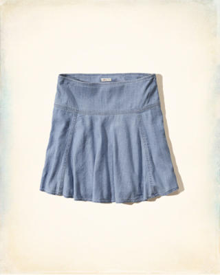 Chambray Drop Yoke Skater Skirt