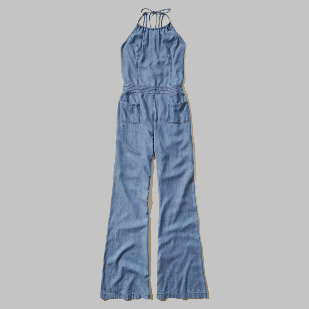 Chambray Flare Jumpsuit