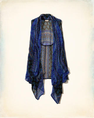 Patterned Chiffon Vest