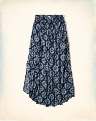 Pattern Curved Hem Maxi Skirt