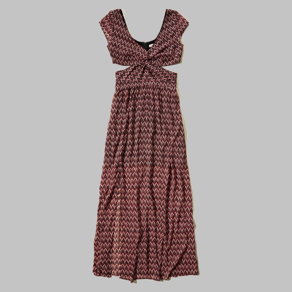 Patterned Cutout Maxi Dress
