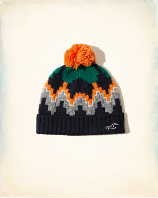 Patterned Pom-pom Beanie