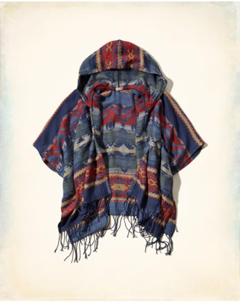 hol Patterned Blanket Poncho